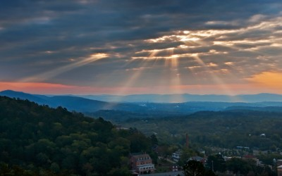 God rays over Hot Springs
